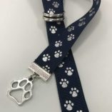 Navy Silver Paws Book Buckle Bookmark with Charm