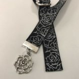 Black Silver Roses Book Buckle Bookmark with Charm