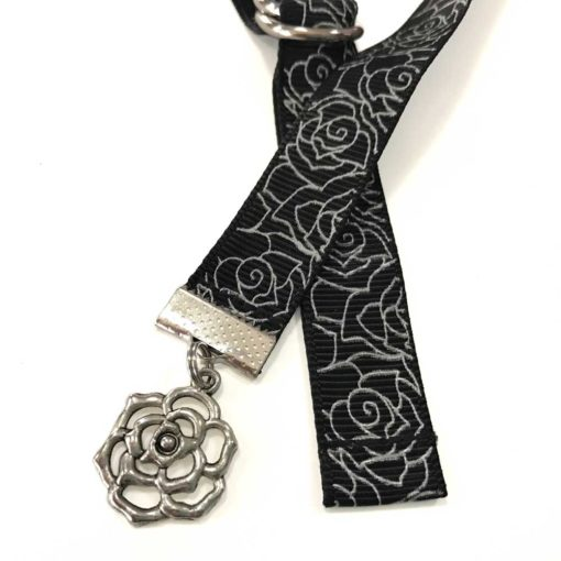 Silver Roses Ribbon Bookmarks with Charm - Book Buckles
